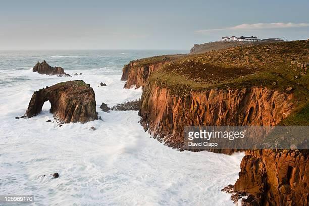 Stormy seas at Lands End, Cornwall, England, UK