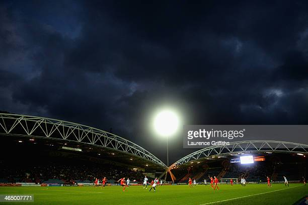 Stormy skies loom over the Budweiser FA Cup Fourth Round match between Huddersfield Town and Charlton Athletic at John Smith's Stadium on January 25...