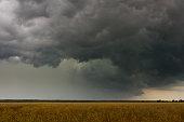 Dark stormy sky over the field