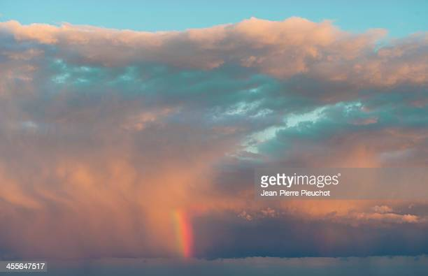 Stormy weather and rainbow