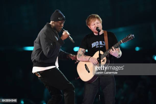 Stormzy and Ed Sheeran perform on stage at The BRIT Awards 2017 at The O2 Arena on February 22 2017 in London England
