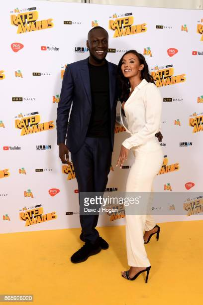 Stormzy and Maya Jama attend UK Grime and Hip Hop the KA GRM Daily RATED AWARDS at legendary music venue The Roundhouse on October 24 2017 in London...
