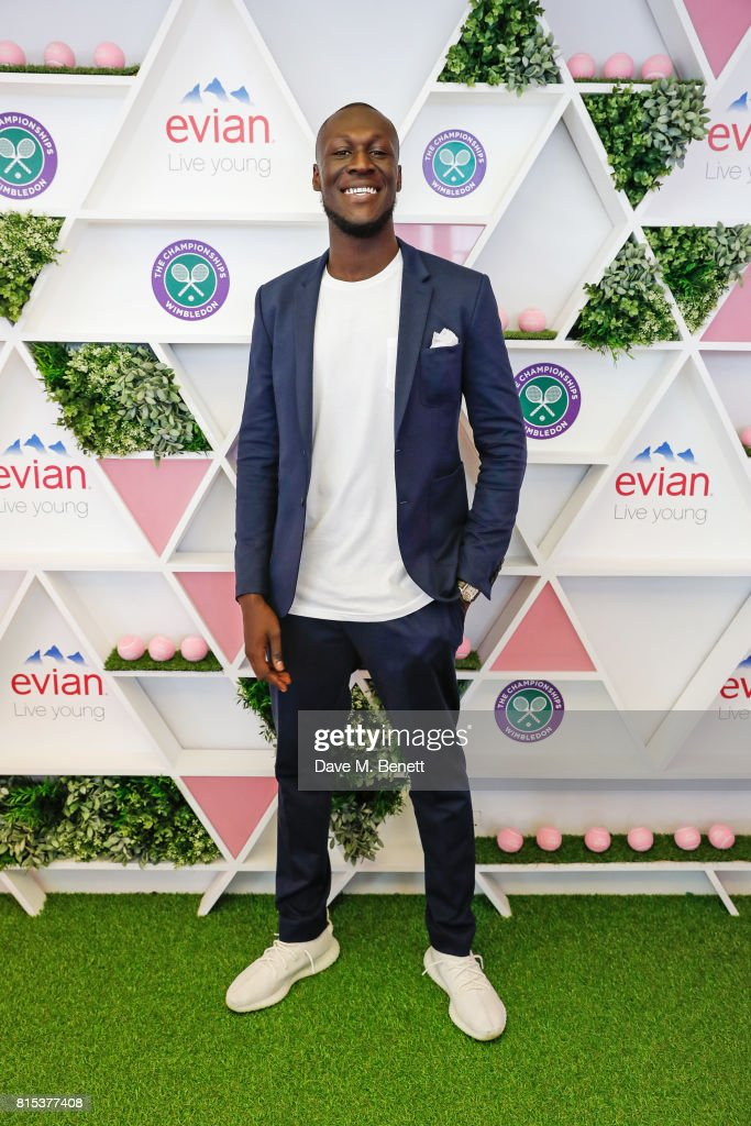 Stormzy attends the evian Live Young suite during Wimbledon 2017 on July 16, 2017 in London, England.
