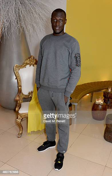Stormzy attends the Rinse FM 20th Birthday Anniversary Dinner at St Martins Lane Hotel on December 22 2014 in London England