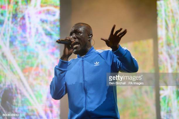 Stormzy performing on The Other Stage at the Glastonbury Festival at Worthy Farm in Somerset