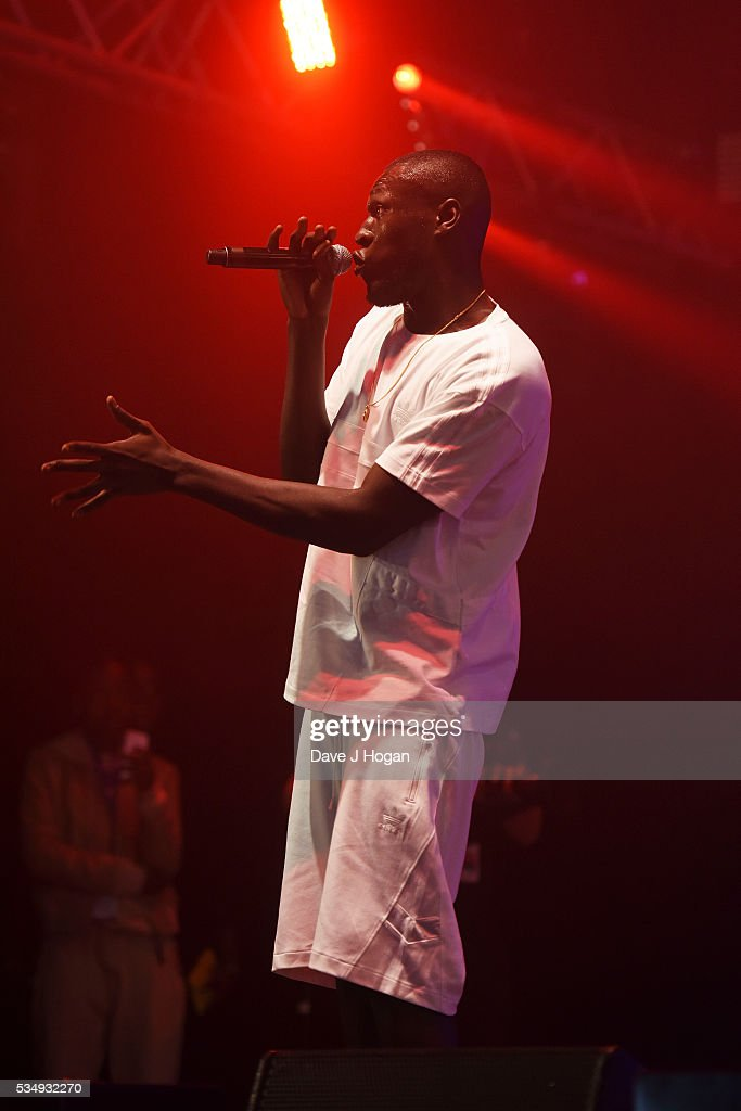 <a gi-track='captionPersonalityLinkClicked' href=/galleries/search?phrase=Stormzy&family=editorial&specificpeople=13670831 ng-click='$event.stopPropagation()'>Stormzy</a> performs during day 1 of BBC Radio 1's Big Weekend at Powderham Castle on May 28, 2016 in Exeter, England.