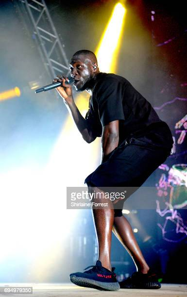 Stormzy performs headlining the Sounds Of The Near Future stage at Parklife Festival 2017 at Heaton Park on June 11 2017 in Manchester England