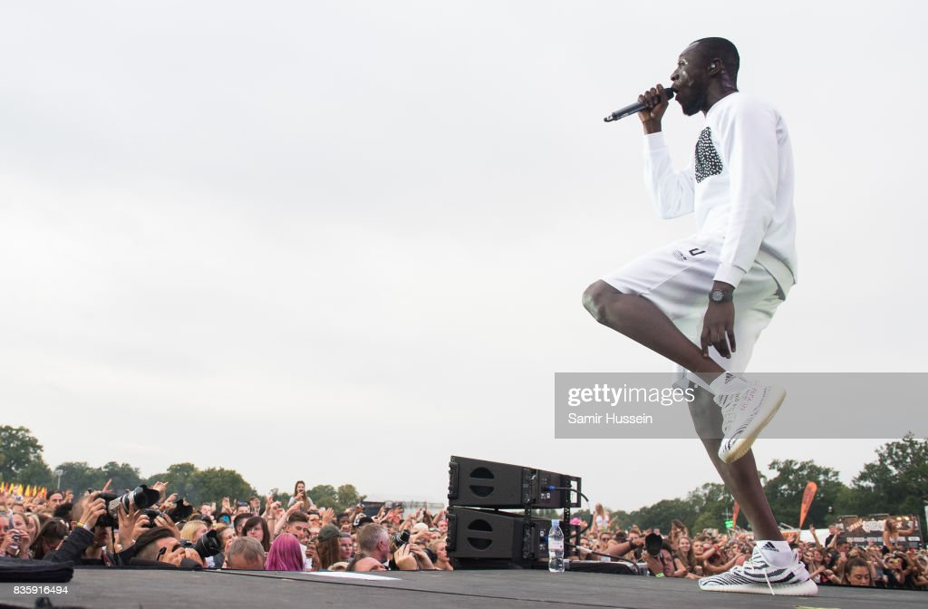 Stormzy performs live on stage during V Festival 2017 at Hylands Park on August 20, 2017 in Chelmsford, England.