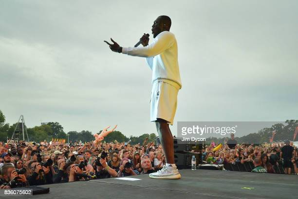 Stormzy performs live on stage during V Festival 2017 at Hylands Park on August 20 2017 in Chelmsford England