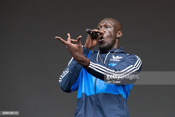 Stormzy performs on the main stage on the first day of the Parklife Festival on June 11 2016 in Manchester England