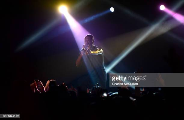 Stormzy performs to a sell out crowd at The Limelight on April 1 2017 in Belfast Northern Ireland The Mobo award winner is currently on his UK tour...