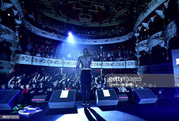 Stormzy performs to a sellout crowd on the opening night of his UK tour promoting his 'Gang Signs and Prayer' album at the Olympia Theatre on March...