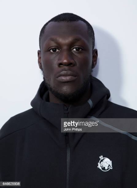 Stormzy poses for a photo during a vist to Kiss FM Studio's on March 1 2017 in London England
