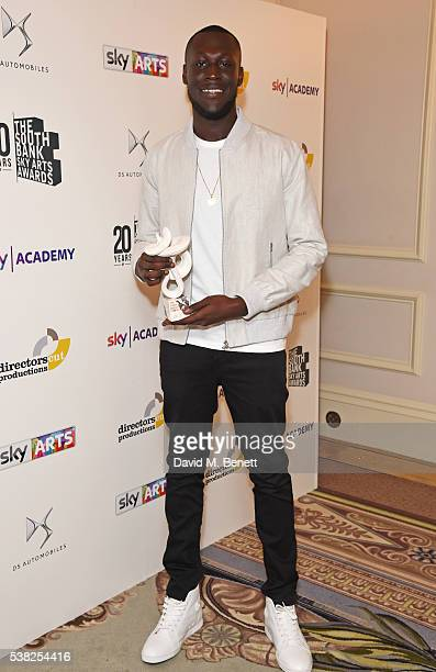 Stormzy winner of the Times Breakthrough Award poses in the Winner's Room at the The South Bank Sky Arts Awards airing on Wednesday 8th June on Sky...