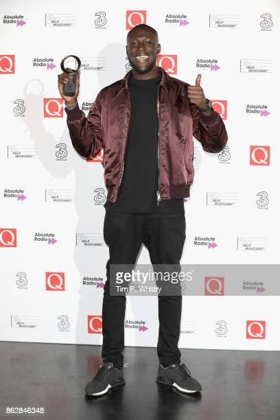 Stormzy with the Best Solo Artist award during the Q Awards 2017 in association with Absolute Radio at The Roundhouse on October 18 2017 in London...