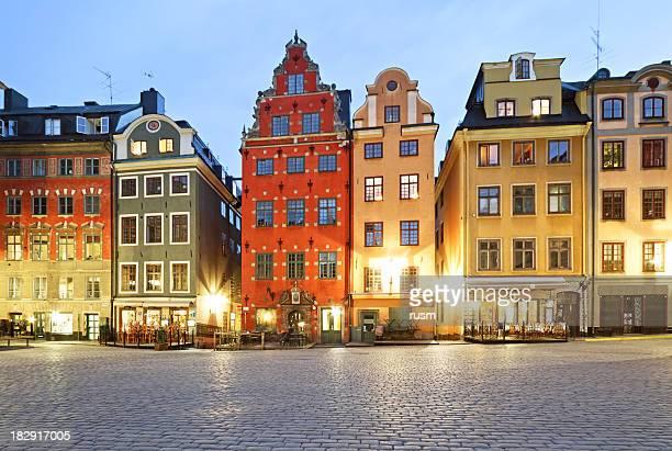 Stortorget square en la noche, Estocolmo