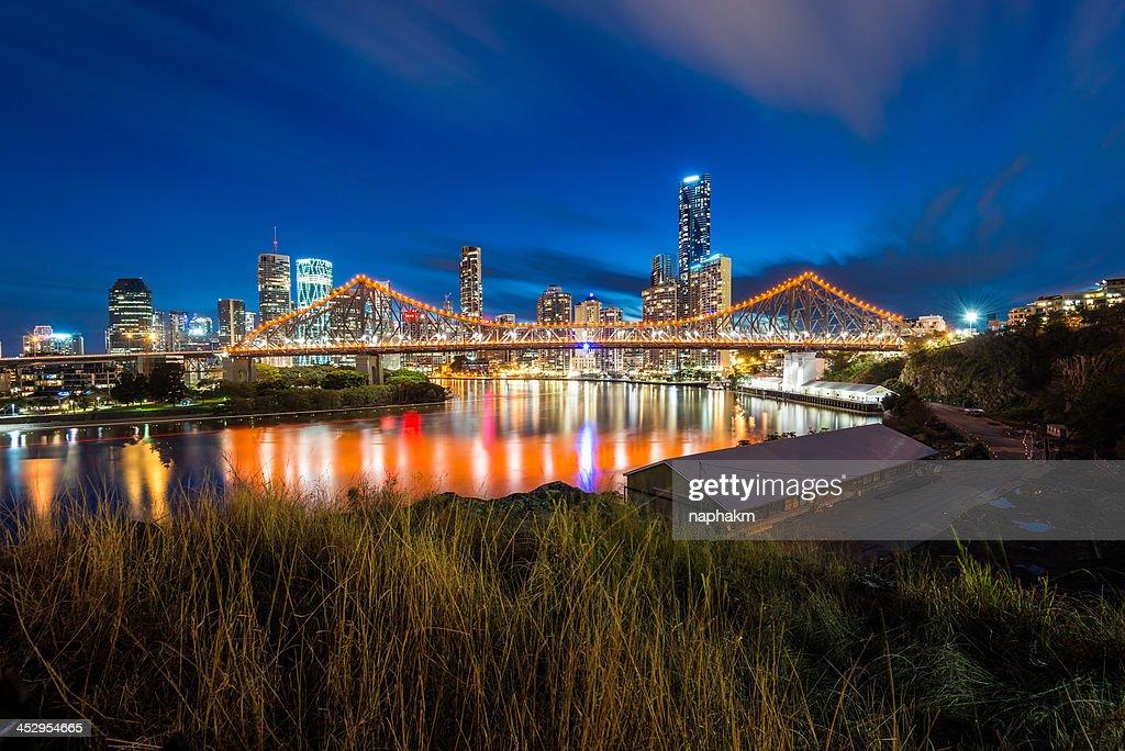 Story Bridge and Brisbane city during twilight