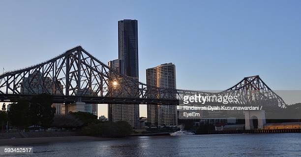 Story Bridge Over Brisbane River Against Clear Sky
