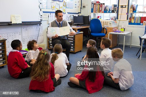 Story Time in a Classroom : Stock Photo