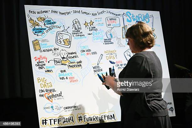 A storyboard is created during Future Of Film Panel Stories By Numbers 2014 Tribeca Film Festival at SVA Theater on April 24 2014 in New York City