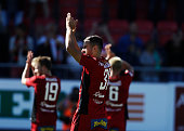 Stotirios Papagiannopoulus of Ostersunds FK celebrates after the victory during the allsvenskan match between Ostersunds FK and Jonkopings Sodra IF...