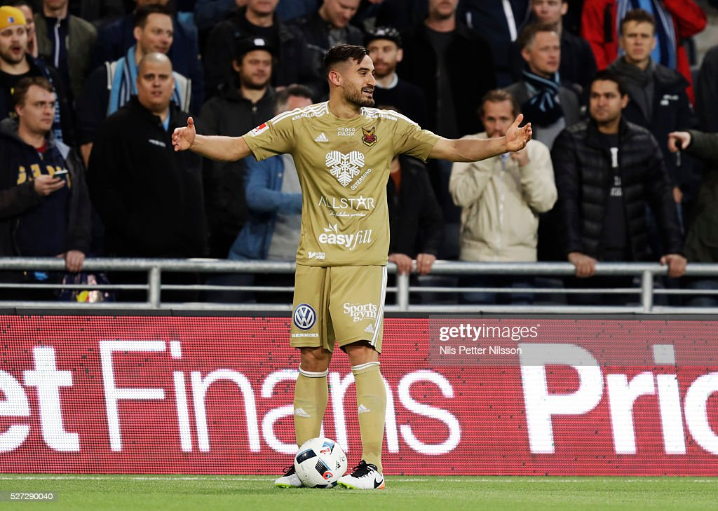 Stotirios Papagiannopoulus of Ostersunds FK during the Allsvenskan match between Djurgardens IF and Ostersunds FK at Tele2 Arena on May 2, 2016 in Stockholm, Sweden.