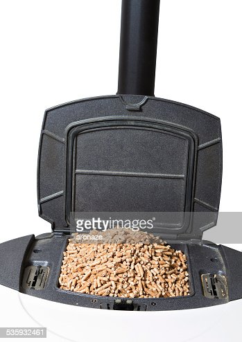 stove functioning with wood pellets : Stock Photo