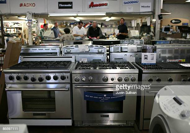 Stoves are displayed at Cherin's Appliances March 25 2009 in San Francisco California Sales of durable goods unexpectedly rose 34 percent in February...