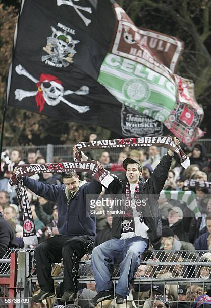 StPauli fans gesture during the Third League match between FC StPauli and Kickers Emden at the Millerntor Stadium on February 3 2006 in Hamburg...
