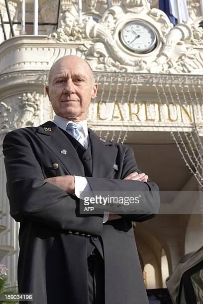 Stéphane Fanciulli chief concierge of the Intercontinental Carlton Hotel poses at the entrance of the hotel on January 4 2013 in Cannes southeastern...