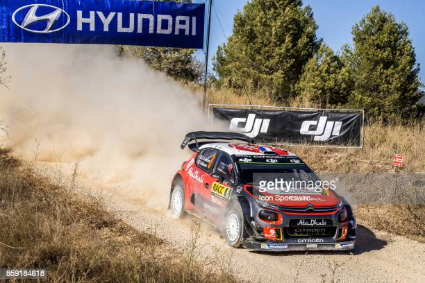 Stéphane Lefebvre and codriver Gabin Moreau of Citroën World Rally Team pictured during the Caseres Stage of the Rally de Espana round of the 2017...