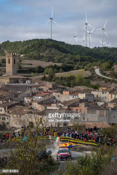 Stéphane Lefebvre and codriver Gabin Moreau of Citroën World Rally Team pass thru the village of Conesa during the Savalla Stage of the Rally de...