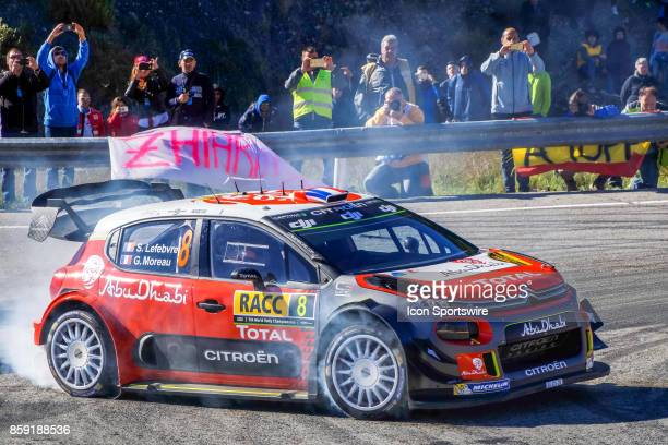 Stéphane Lefebvre and codriver Gabin Moreau of Citroën World Rally Team round the famous Riudecanyes roundabouts of the Rally de Espana round of the...