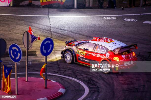 Stéphane Lefebvre and codriver Gabin Moreau of Citroën World Rally Team early morning run on the Riudecanyes Stage of the Rally de Espana round of...