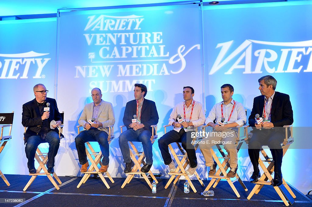 Stradella Road CEO Gordon Paddison, Myspace founder of Science & former CEO Mike Jones, FilmBreak co-founder & president Taylor McPartland, CTO, SGN & co-founder, i/o Ventures, Aber Whitcomb, Muckerlab co-founder & managing partner Erik Rannala, and Partner and co-chair, Media Entertainment & Technology, Gibson Dunn & Member, Los Angeles Mayor's Council on Innovation and Industry David Hernand speak during Variety's Venture Capital & New Media Summit in association with International ESQ at Sofitel Hotel on June 27, 2012 in Los Angeles, California.