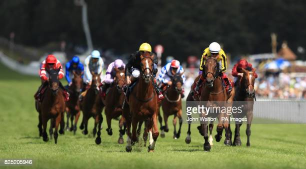 Stradivarius ridden by jockey Andrea Atzeni on the way to winning the Qatar Goodwood Cup Stakes during day one of the Qatar Goodwood Festival at...