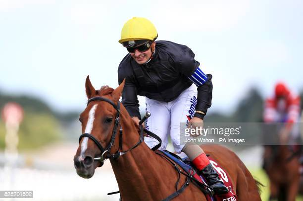 Stradivarius ridden by jockey Andrea Atzeni wins the Qatar Goodwood Cup Stakes during day one of the Qatar Goodwood Festival at Goodwood Racecourse