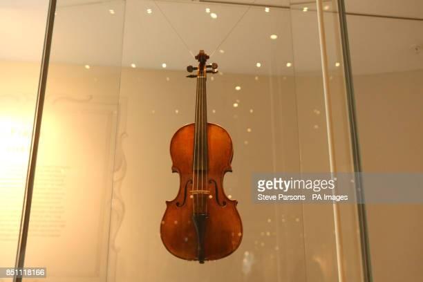 A Stradivarius violin at the new Stradivarius exhibition at the Ashmolean Museum in Oxford