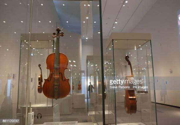 Stradivarius violins at the new Stradivarius exhibition at the Ashmolean Museum in Oxford