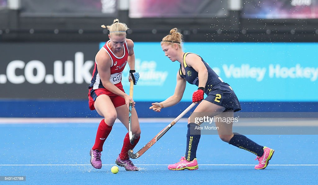 Strafanie Fee of USA and Georgina Nanscawen of Australia during the FIH Women's Hockey Champions Trophy 2016 3rd-4th place match between Australia and USA at Queen Elizabeth Olympic Park on June 26, 2016 in London, England.