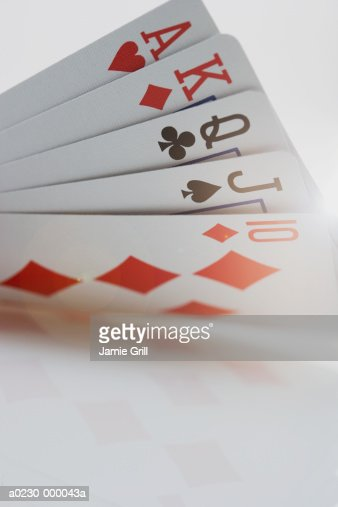 Straight Poker Hand : Stock Photo