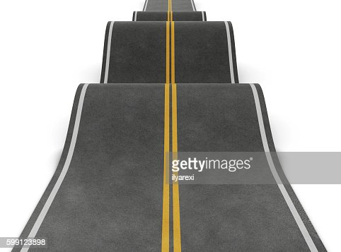 Straight road with irregularities. Bumpy road with ups and downs : Stock Photo