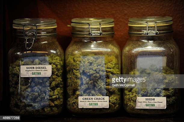 Strains of marijuana at Denver Kush Club in Denver Colorado on January 1 2014 The first legal sales of marijuana in the world took place in Colorado...