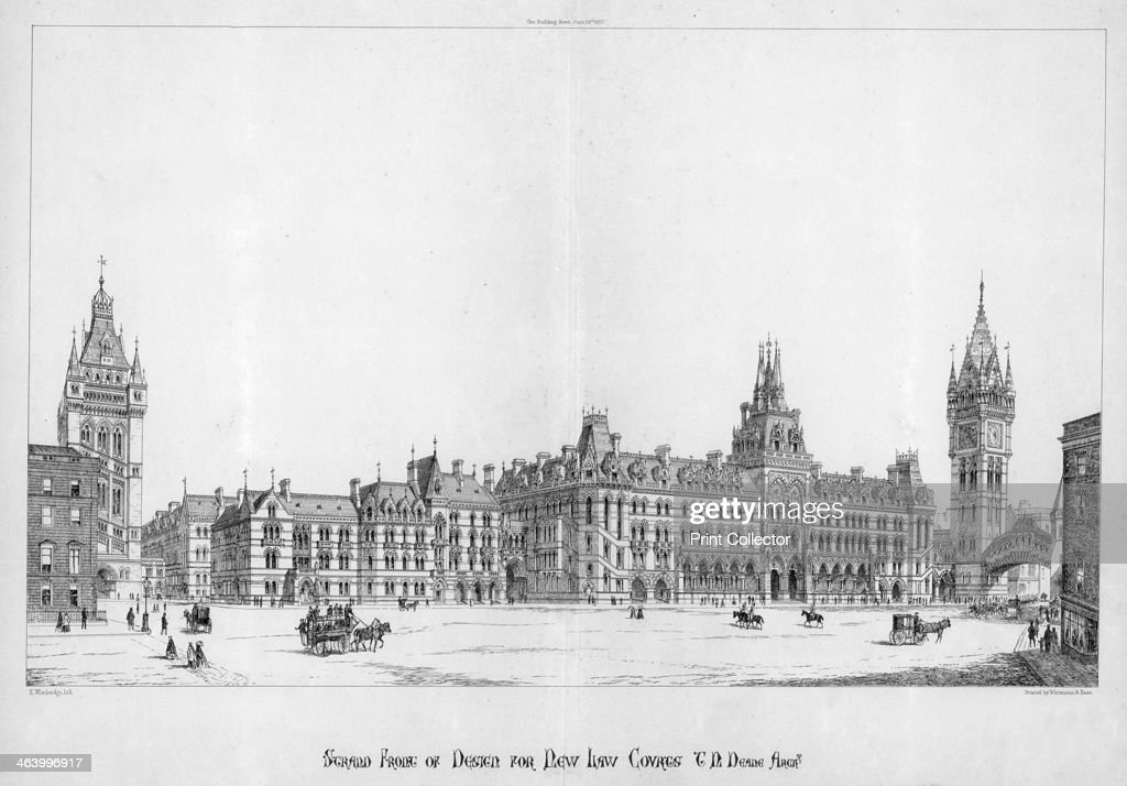 Strand front of design for new law courts London 1867 Design by Sir Thomas Newenham Deane 11 architects entered the competition to design the Royal...