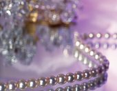 Strand of pearls, high angle view, close up