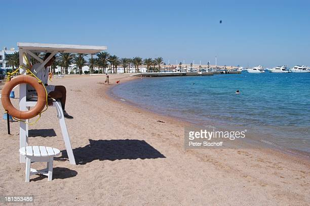 Strand The Grand Hotel Hurghada Ägypten Afrika Rotes Meer Rettungsring Lebensretter Bademeister Luxus Luxushotel ProdNr 523/2006 Reise