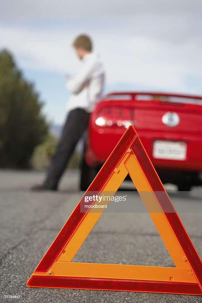 Stranded at Roadside and Waiting for Help : Stock Photo