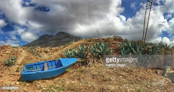 A stranded blue boat, panoramic image