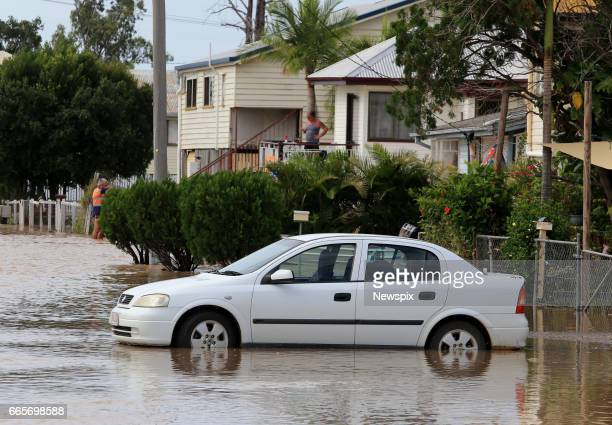 ROCKHAMPTON QLD Stranded cars surrounded by floodwaters at Depot Hill in Rockhampton Queensland after the Fitzroy River burst its banks in the...