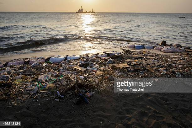 Stranded garbage on the beach in Beira on September 28 2015 in Beira Mozambique